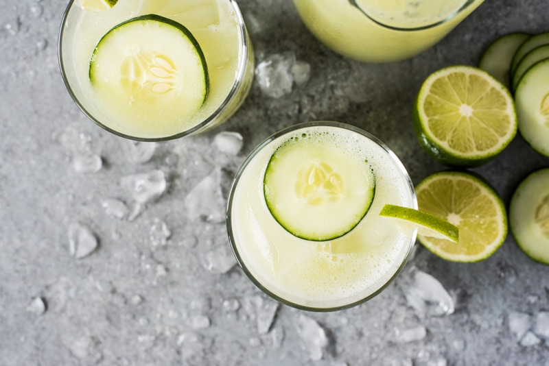 Cucumber Agua Fresca (also called Agua de Pepino) is made with refreshing cucumber, a spritz of lime juice, a touch of sugar and ice cold water. Perfect on a hot summer day!