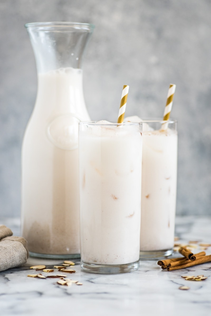This horchata recipe is refreshing, creamy and easy to make. Made from rice, almonds and cinnamon, this sweetened Mexican drink is dairy free, gluten free, vegetarian and vegan.