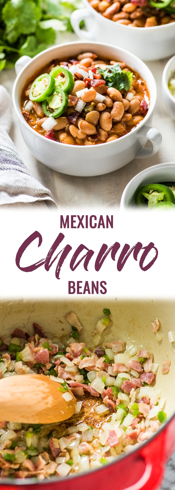 Charro Beans are Mexican-style pinto beans cooked in a broth made from bacon, onions, garlic, chipotle peppers, tomatoes and other delicious spices. Great as a side dish or as a full meal served with some cornbread! #mexican #glutenfree #beans | Made on the stovetop, these authentic charro beans are easy to make, and very filling and full of fiber.