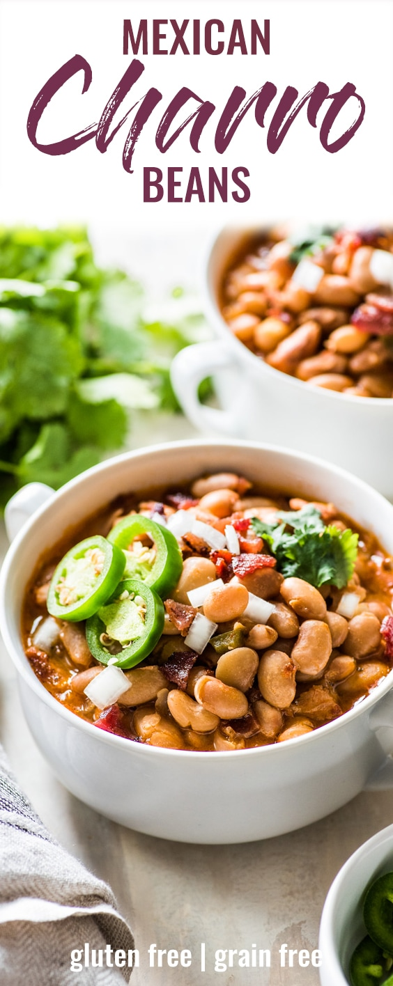 Charro Beans are Mexican-style pinto beanscooked in a broth made from bacon, onions, garlic, chipotle peppers, tomatoes and other delicious spices. Great as a side dish or as a full meal served with some cornbread! #mexican #glutenfree #beans | Made on the stovetop, these authentic charro beans are easy to make, and very filling and full of fiber.