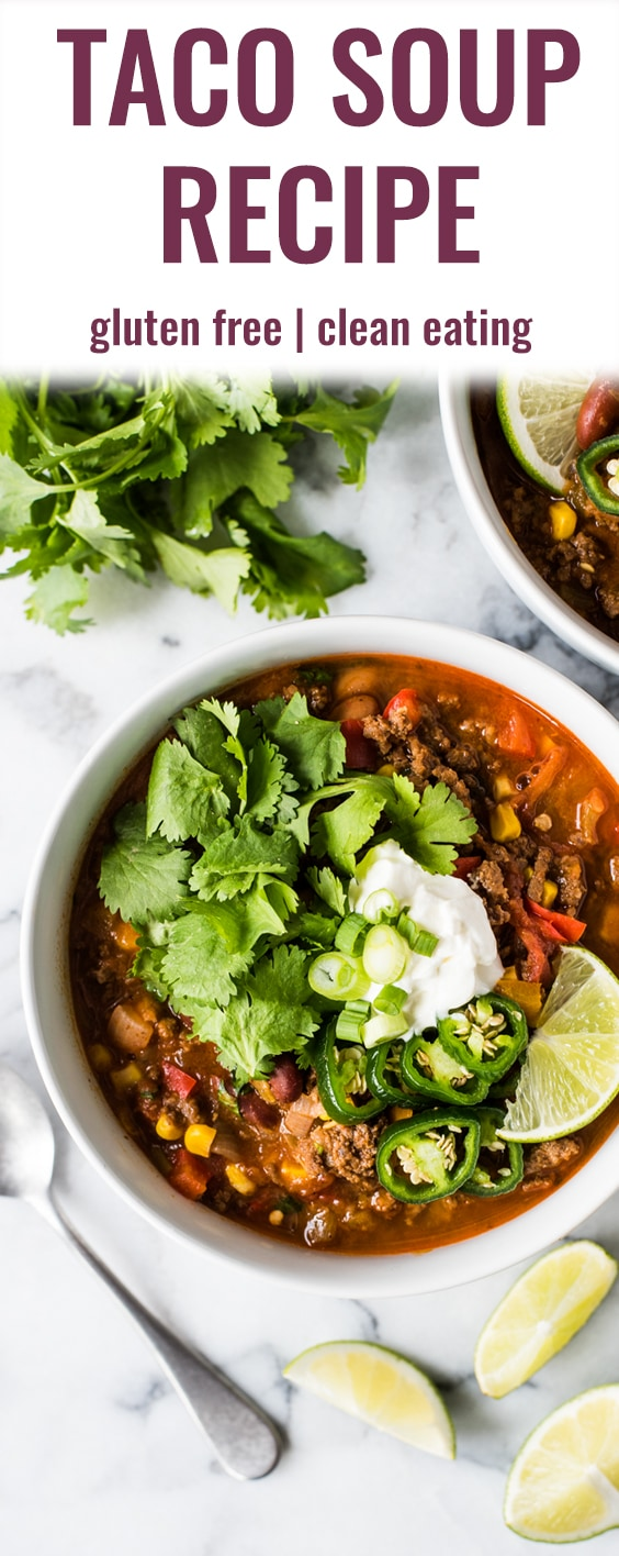 This Taco Soup recipe delivers all the flavor of your favorite ground beef tacos, but in a soup! Serve with your favorite taco toppings and tortilla chips for a little crunch! | gluten free | freezer friendly | clean eating | healthy taco soup | the best taco soup | stove top | mexican taco soup | isabel eats | isabeleats.com