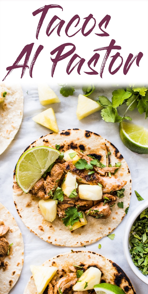 Mexican Tacos Al Pastor made with sweet, tangy and smokey marinated pork grilled to perfection and served with fresh pineapple. The best summer tacos! #mexican #tacos #pork #glutenfree