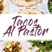 Mexican Tacos Al Pastor made with sweet, tangy and smokey marinated pork grilled to perfection and served with fresh pineapple. The best summer tacos! #tacosalpastor #mexican #tacos #lowcarb