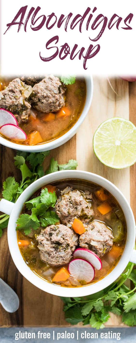 This Albondigas Soup, an authentic Mexican meatball soup, is served in a light and healthy broth full of vegetables and and lean protein! (gluten free, paleo) | isabeleats.com | #meatballs #albondigas #mexican #lowcarb