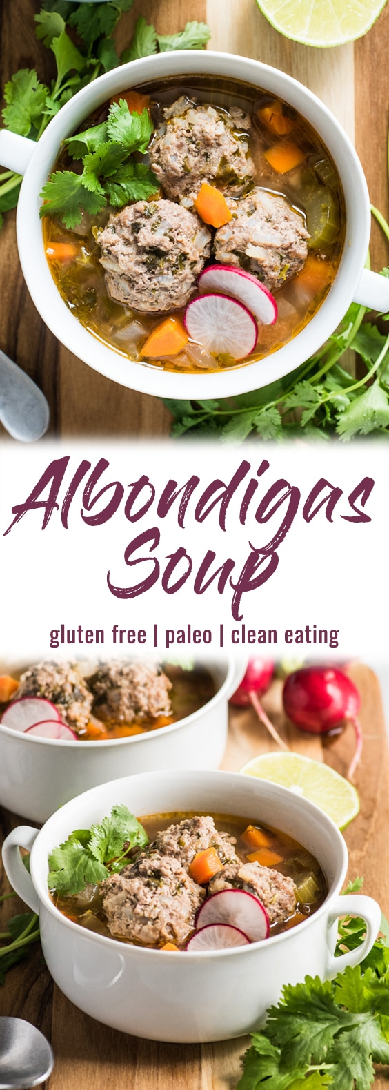 This Albondigas Soup, an authentic Mexican meatball soup, is served in a light and healthy broth full of vegetables and and lean protein! (gluten free, paleo) | isabeleats.com | #meatballs #albondigas #mexican #paleo