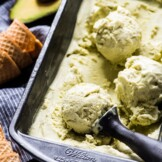 No ice cream maker? Noproblem! This no churn Avocado Ice Cream is creamy, rich and smooth. All you need is a mixer! (gluten free, vegetarian) #avocado #icecream #nochurn #mexican