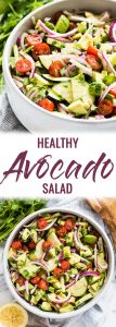 This Avocado Salad recipe is a healthy, fresh and insanely addicting side dish perfect for bbqs, potlucks and get togethers! Ready in only 10 minutes, this dish is low carb, gluten free, paleo, vegetarian and vegan. #avocado #sidedish | summer side dishes | summer side dishes for a crowd | healthy summer side dishes | easy summer side dishes