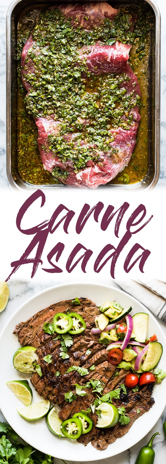 A delicious Carne Asada recipe made from marinated flank or skirt steak and cooked on the grill. Juicy, tender and a great addition to any Mexican meal! #mexican #grilled #steak