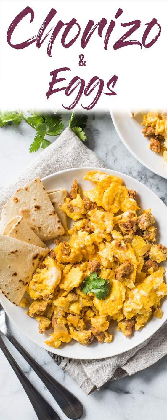 This Chorizo and Eggs recipe is an easy to make Mexican breakfast full of delicious authentic flavors ready in under 25 minutes! (low carb, paleo, gluten free, vegetarian option available) #chorizo #mexican #breakfast