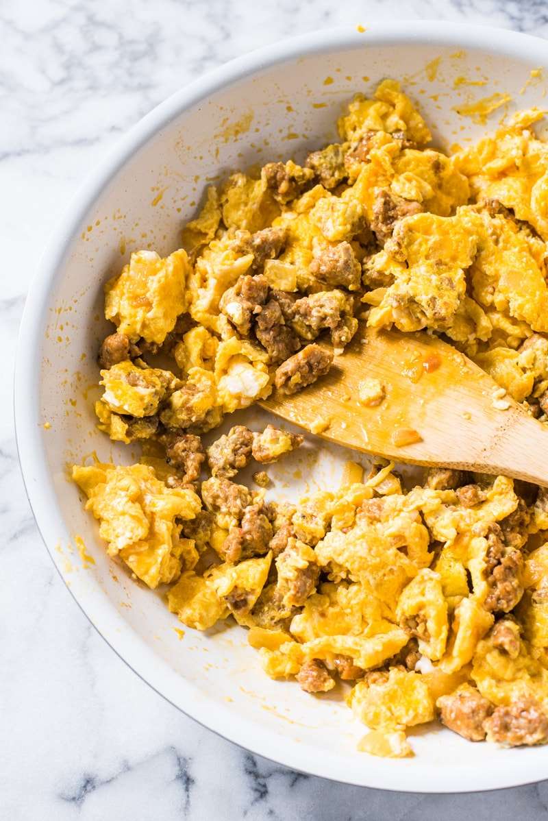 This Chorizo and Eggs recipe is an easy to make Mexican breakfast full of delicious authentic flavors ready in under 25 minutes! (low carb, paleo, gluten free, vegetarian option available)