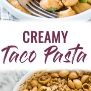 This Creamy Taco Pasta is a cheesy, ooey-gooey and addicting one pot meal perfect for any night of the week. Like a cheesy hamburger helper but so much better!