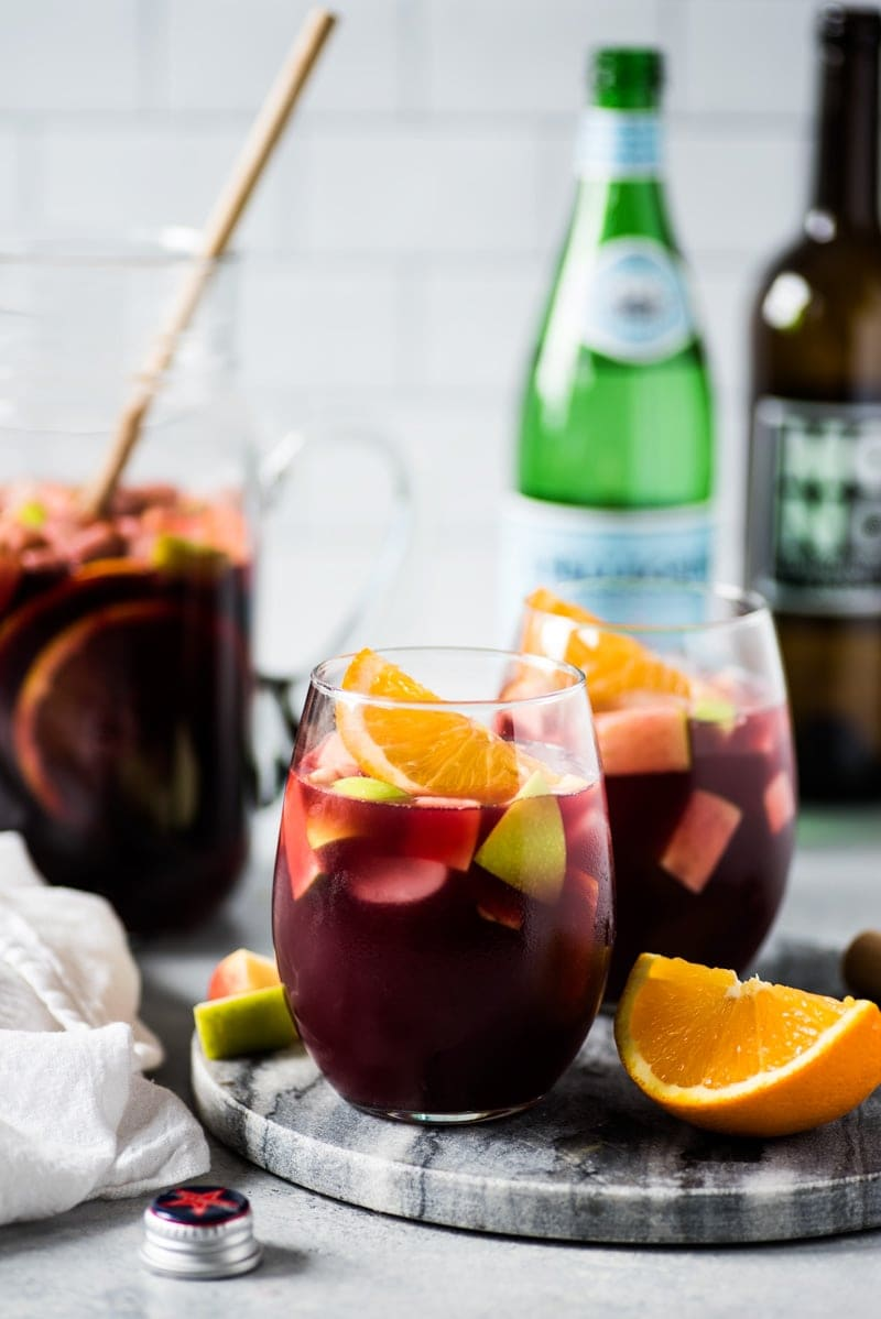 Sangria recipe made with red wine and fruits in a glass