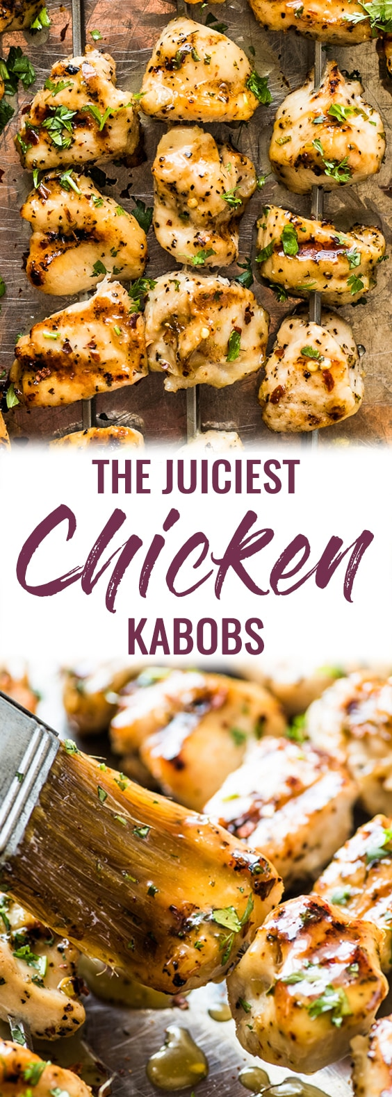 These easy Chicken Kabobs brushed with a honey lime sauce are juicy, tender and flavorful. No more dry or rubbery chicken! (gluten free, paleo, clean eating, skinny) #kabobs #skewers #grilledchicken