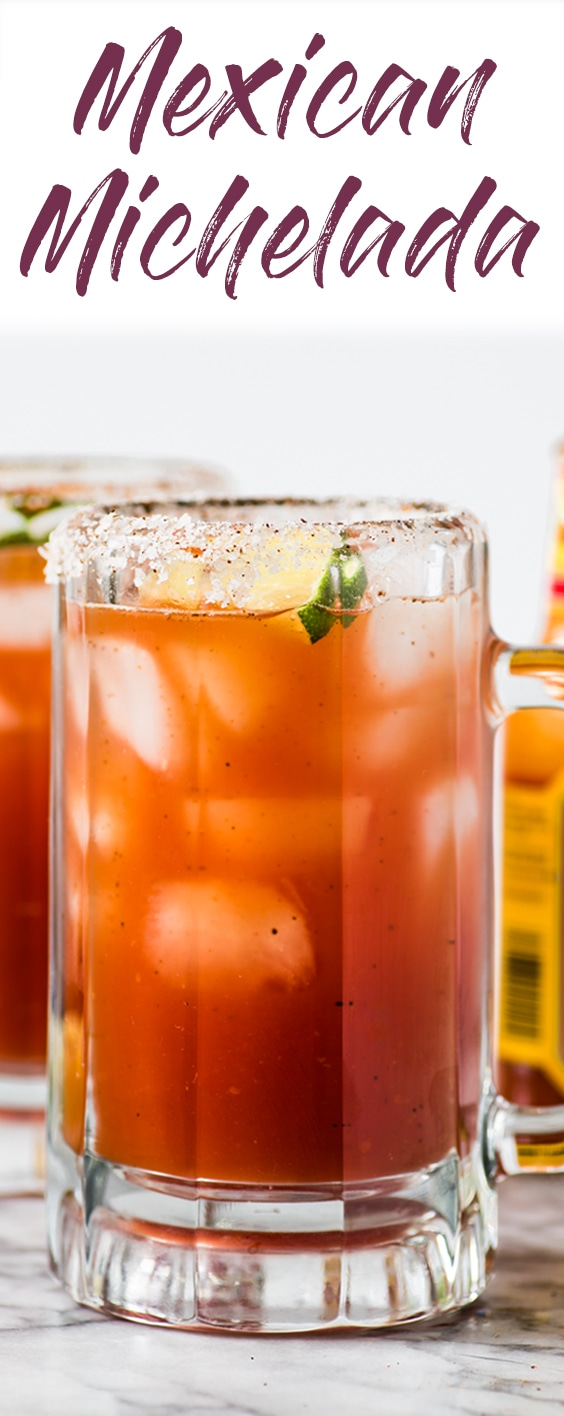 This refreshing Michelada recipe made with Clamato juice and Mexican beer is the perfect cocktail for brunch or alongside your favorite Mexican party foods! #michelada #cocktail #mexican