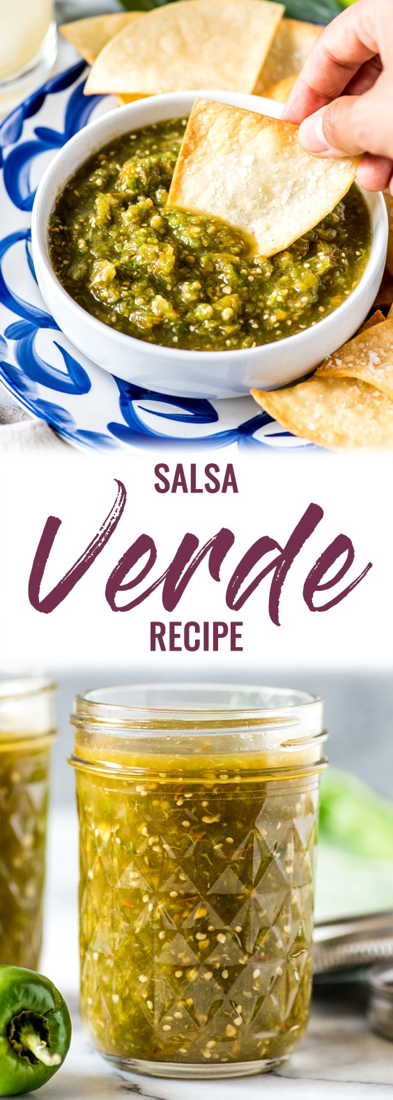 This Easy Salsa Verde Recipe made with tomatillos and jalapenos can be used in dozens of Mexican dishes. It's gluten-free, dairy-free, vegetarian and vegan. #salsa #salsaverde #tomatillosalsa #mexican
