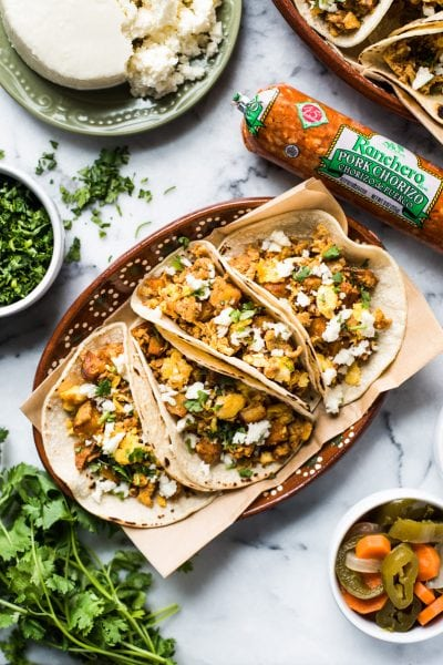 Breakfast Tacos with Chorizo, Potatoes and Eggs