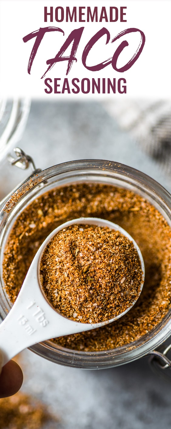 This Homemade Taco Seasoning recipe is made without any fillers, preservatives, added sugar or weird ingredients - just a delicious blend of Mexican spices and herbs to get your taco party started! (gluten free, paleo, vegetarian, vegan) Great on tacos, burritos, chicken and more! #tacoseasoning #tacos #mexican