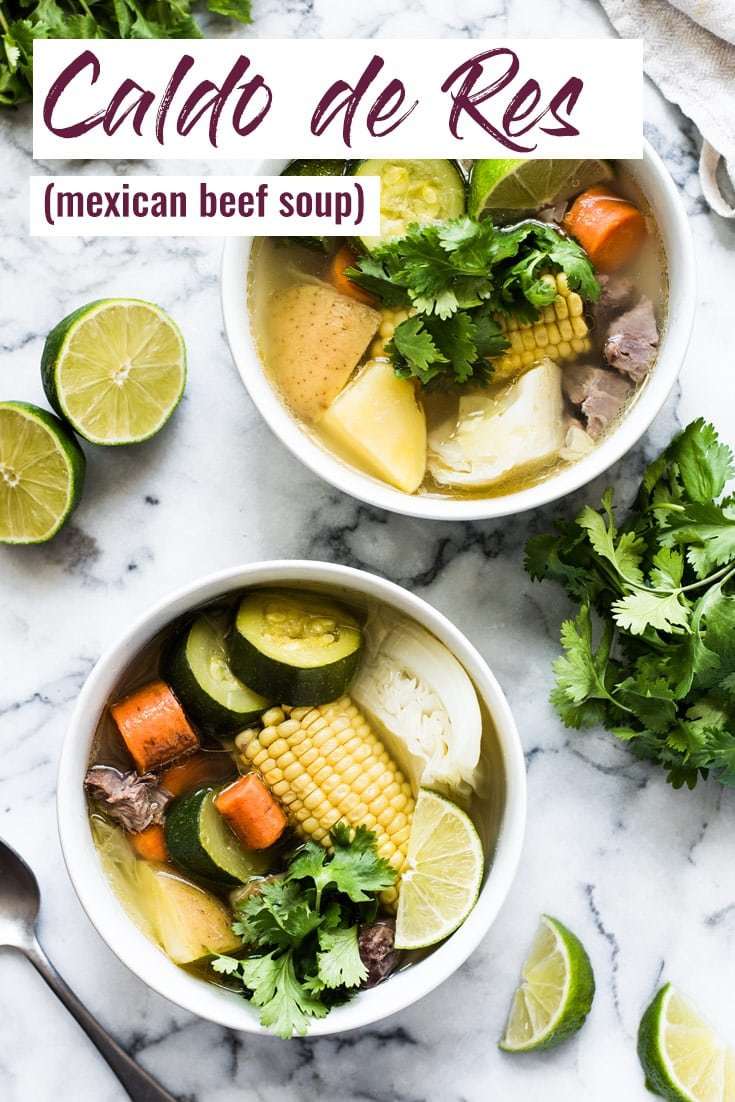 Caldo de Res, or Mexican beef soup, is a healthy and comforting soup made with a flavorful beef broth and squash, corn, carrots, cabbage and potatoes.  #beefsoup #soup #beefstew #mexican #healthy
