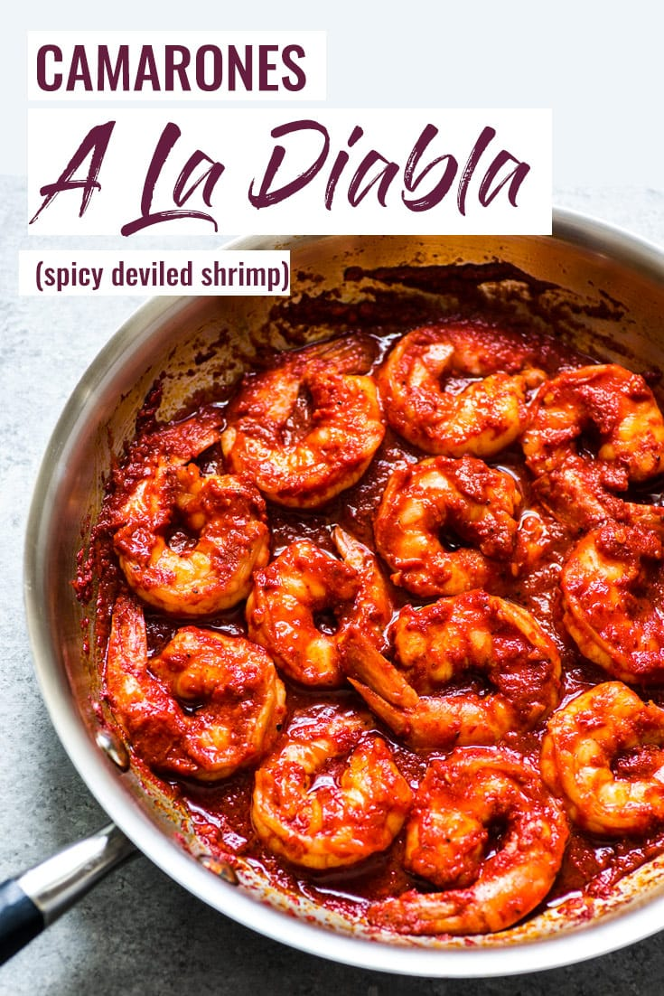 Camarones a la Diabla arejuicy, large shrimp covered in a bright red chile pepper sauce that are ready to eat in 30 minutes! (gluten free, low carb, paleo) | Also known as diablo shrimp or spicy deviled shrimp. | #mexican #shrimp #seafood #lowcarb