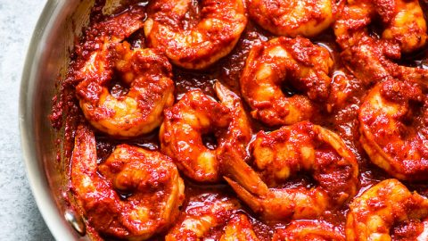 Camarones a la Diabla are juicy, large shrimp covered in a bright red chile pepper sauce that are ready to eat in 30 minutes! (gluten free, low carb, paleo) | Also known as diablo shrimp or spicy deviled shrimp.