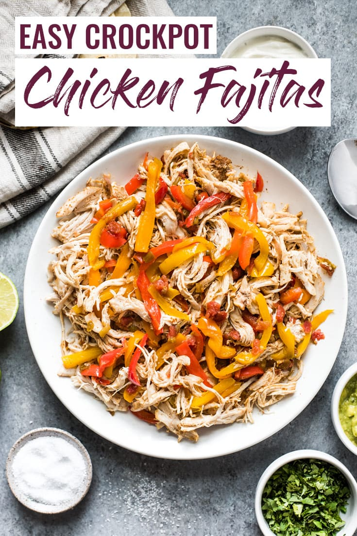 These easy crockpot chicken fajitas are made with only 6 ingredients! Serve in tacos for a weeknight meal or in burrito bowls and salads for a healthy lunch! (gluten free, paleo, low carb) #crockpot #fajitas #slowcooker #mexican