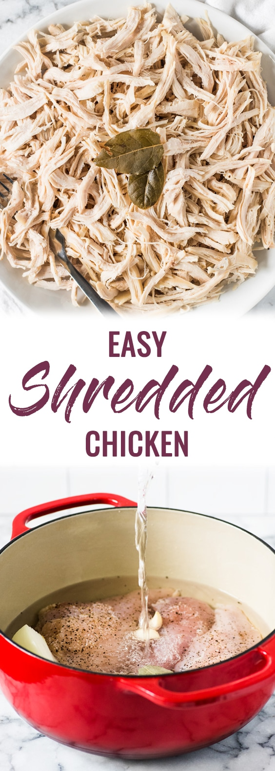 An Easy Shredded Chicken recipe that makes juicy, flavorful and tender chicken every time on the stove top. Use it inomelets, salads, tacos, nachos, soups, rice bowls, burritos, enchiladas and more! #shreddedchicken #chicken #paleo #glutenfree