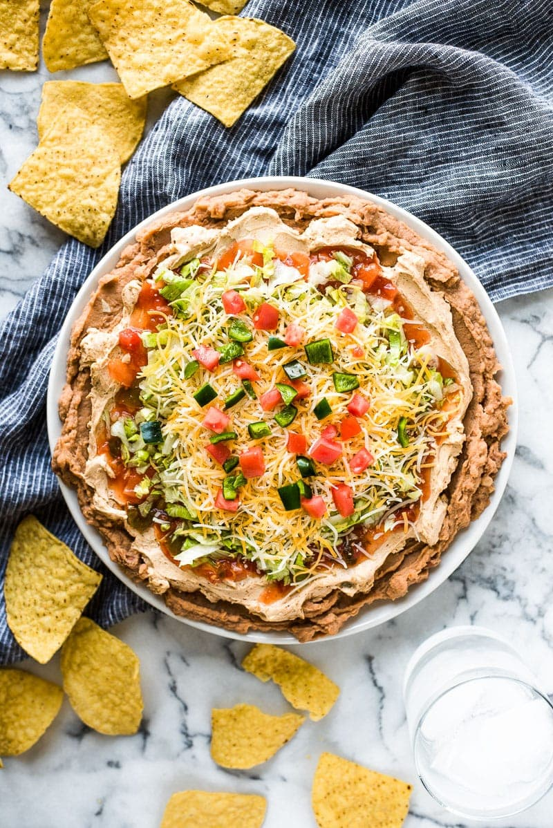 This Healthy Taco Dip made with 5 layers of delicious ingredients is ready in under 10 minutes and is the perfect appetizer for any party!