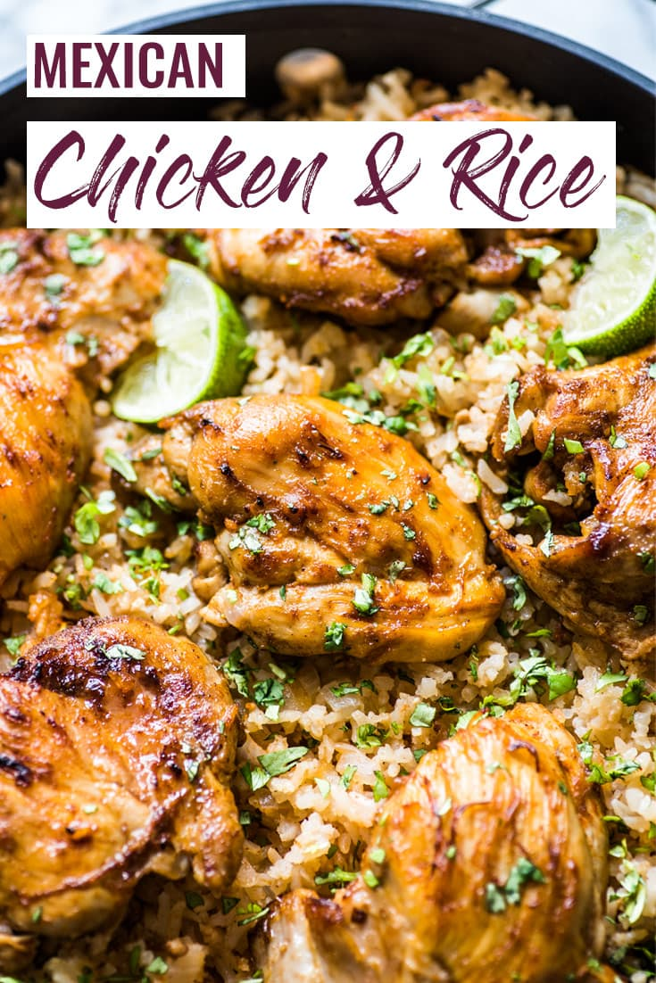 This Mexican Chicken and Rice features tender, juicy marinated chicken thighs and authentic Mexican rice cooked all in one pot! #mexican #chickenandrice #chickendinner #glutenfree #onepot