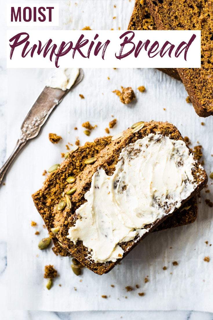 This moist pumpkin bread is easy to make and features a crunchy crust made from turbinado sugar and pepitas! Perfect for the fall and winter seasons! #pumpkinbread #pumpkin #loaf