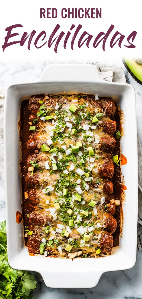 This Red Chicken Enchiladas recipe makes the BEST DINNER EVER! They're stuffed with shredded chicken and cheese, topped with red enchilada sauce and baked for 20 minutes. They're easy to make, super cheesy and made with authentic Mexican flavors. #enchiladas #mexican #shreddedchicken