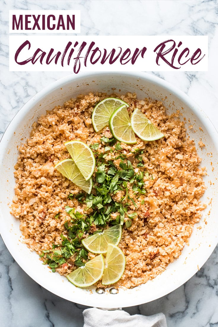 This Mexican Cauliflower Rice is a delicious and healthy low-carb alternative to traditional Mexican rice. It's ready in only 25 minutes and is gluten free, paleo, vegetarian and vegan.