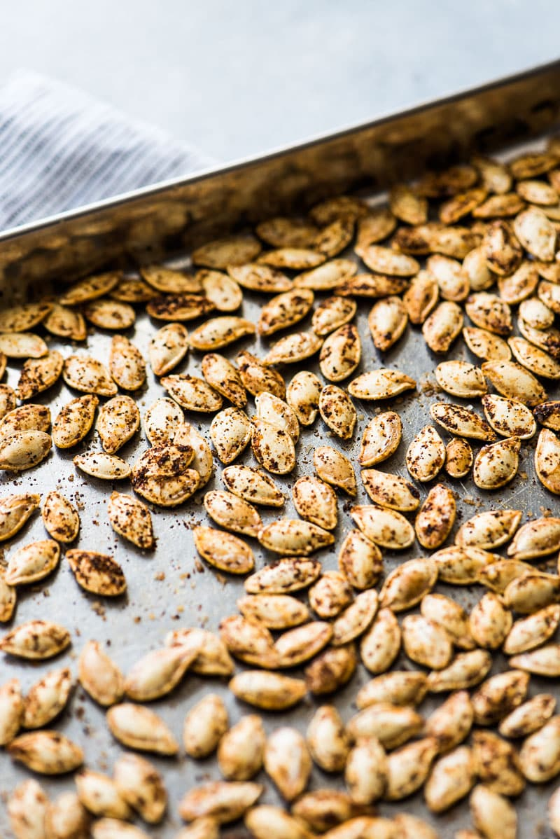 Roasted pumpkin seeds that have been seasoned