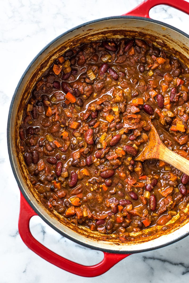 This Spicy Vegetarian Chili is thick, satisfying and super filling! Serve it with your favorite toppings for an easy and healthy meatless meal. (gluten free, vegetarian, vegan)