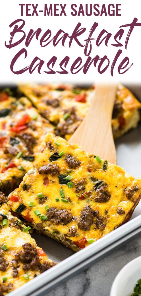 This Tex Mex Sausage Breakfast Casserole is made with crescent roll dough, breakfast sausage, peppers and onions. It's perfect for brunch and can be made ahead of time!