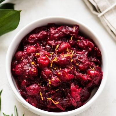 Cranberry sauce recipe in a white bowl.