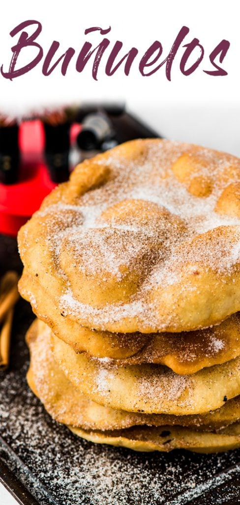 Often served during the Christmas and New Years holidays, this Mexican Bunuelos recipe makes the perfect fried dough covered in cinnamon sugar! #mexicanfoodrecipe #christmas