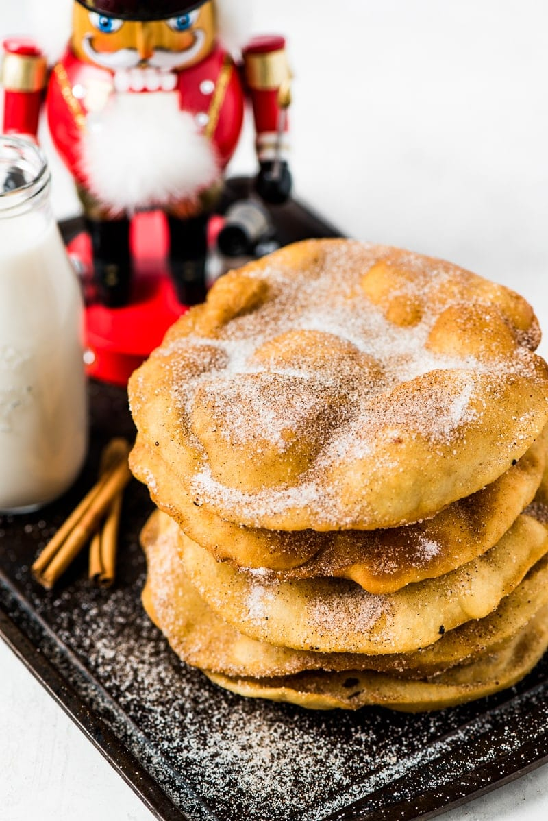 aca7adfe9 Often served during the Christmas and New Years holidays, this Mexican  Bunuelos recipe makes the perfect fried dough covered in cinnamon sugar!