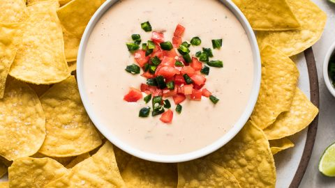 Bowl of queso dip surrounded by tortilla chips.