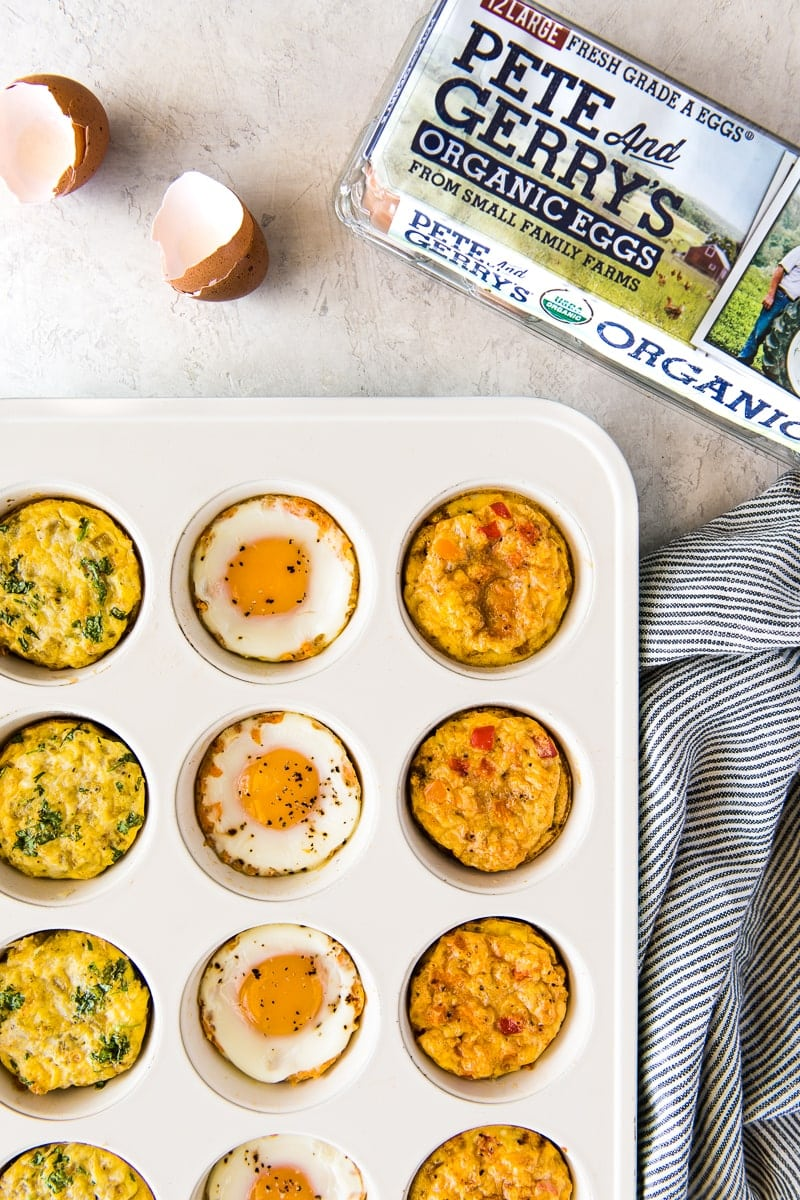 These protein-packed Breakfast Egg Muffins make meal prepping and eating on-the-go exciting with 3 different flavors - chipotle sweet potato, verde and fajita!