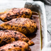 If you love Chipotle Mexican Grill, you're going to love this copycat Chipotle Chicken Recipe! Made with a flavorful marinade and perfect for healthy meals!