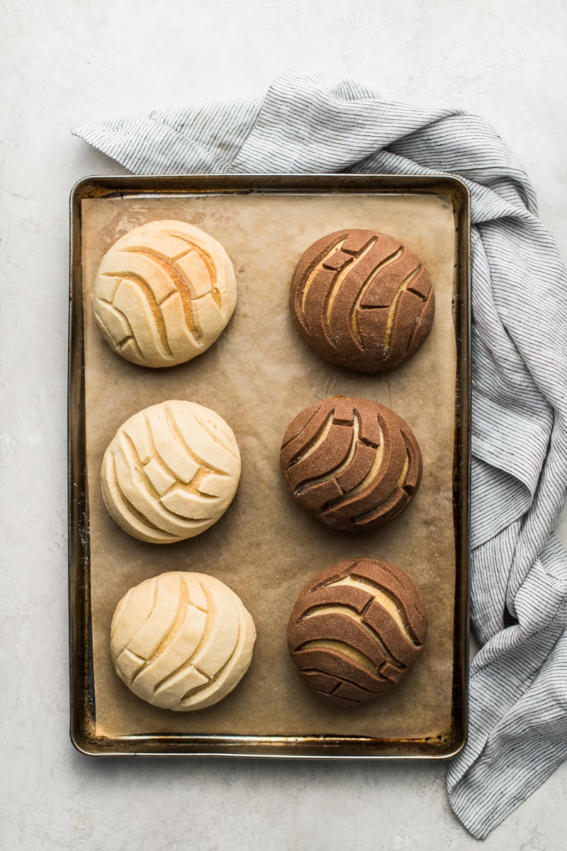 Chocolate and vanilla crusted Conchas on a baking sheet lined with parchment paper.