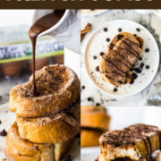 This Cinnamon French Toast is covered in cinnamon sugar and topped with a Mexican chocolate sauce. All the flavor of Mexican churros - but for breakfast! #frenchtoast #breakfast #mexican