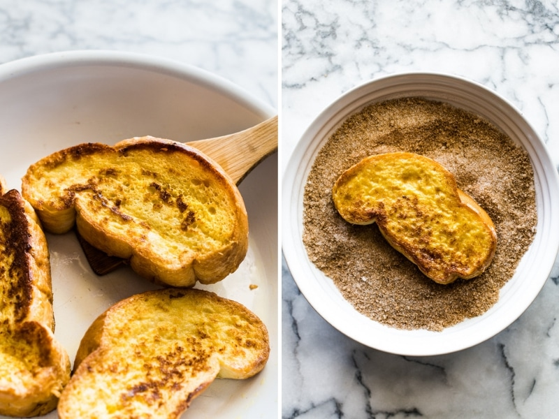 Photo on the left: cooked french toast in a skillet. Photo on the right: cooked french toast in a bowl with cinnamon sugar topping.