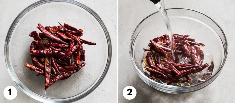 Step by step process on how to make chile de arbol salsa.