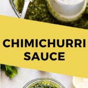 This Chimichurri Sauce recipe is made with fresh and simple ingredients like parsley, cilantro, garlic, red onions and lemon juice. It's perfect served as a sauce for steak, chicken, and seafood, as a salad dressing and even as a marinade! (gluten free, low carb, paleo, vegetarian, vegan)