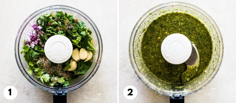Step by step process on how to make chimichurri sauce in a food processor.