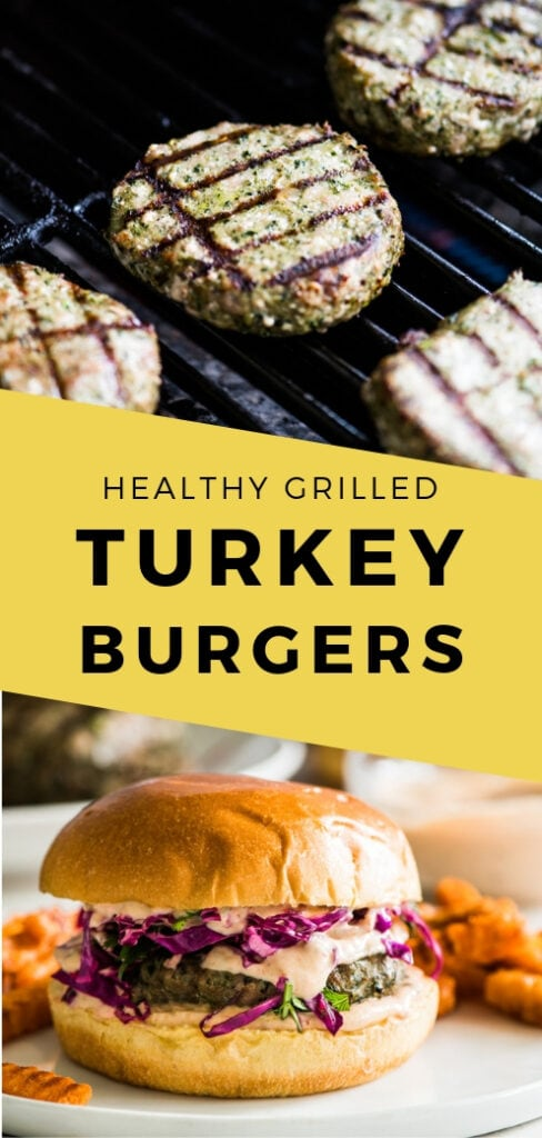These healthy grilled turkey burgers are are topped with a deliciously creamy chipotle sauce and a quick red cabbage slaw. Ready in only 25 minutes! #burgers #turkeyburger #grilledburger | Sponsored by Honeysuckle White Turkey.