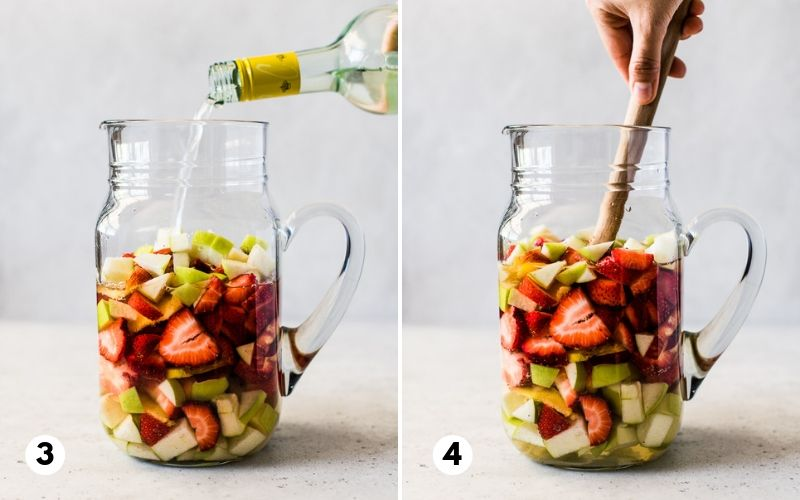 Step by step process of how to make white sangria.