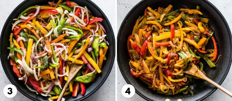 Step by step process for how to make peppers and onions.