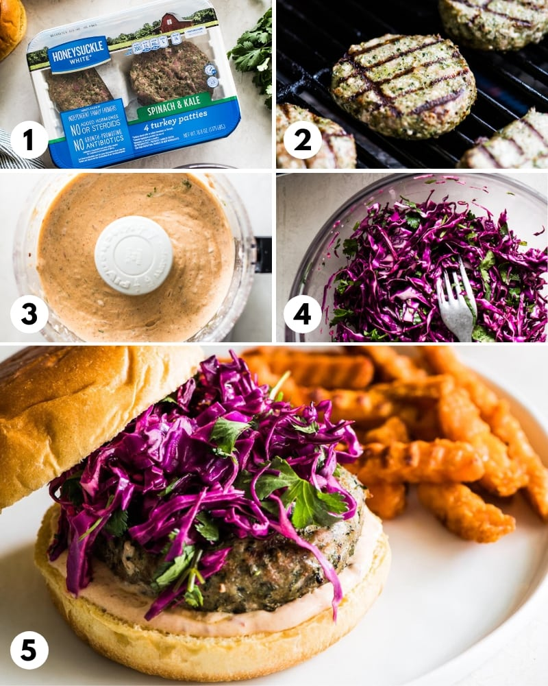 Step by step process for how to make Healthy Grilled Turkey Burgers.